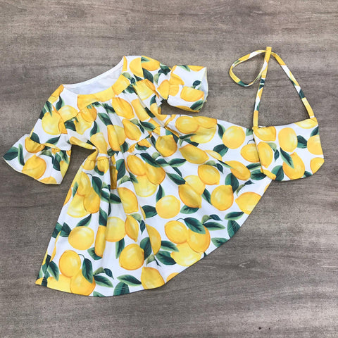 Lemon Dress and Handbag Set
