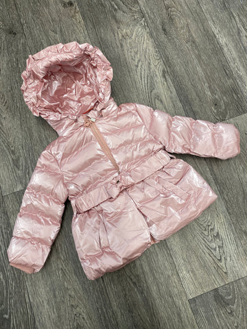 Padded Belted Coat Pink
