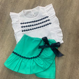 Green Pleated Skort Set