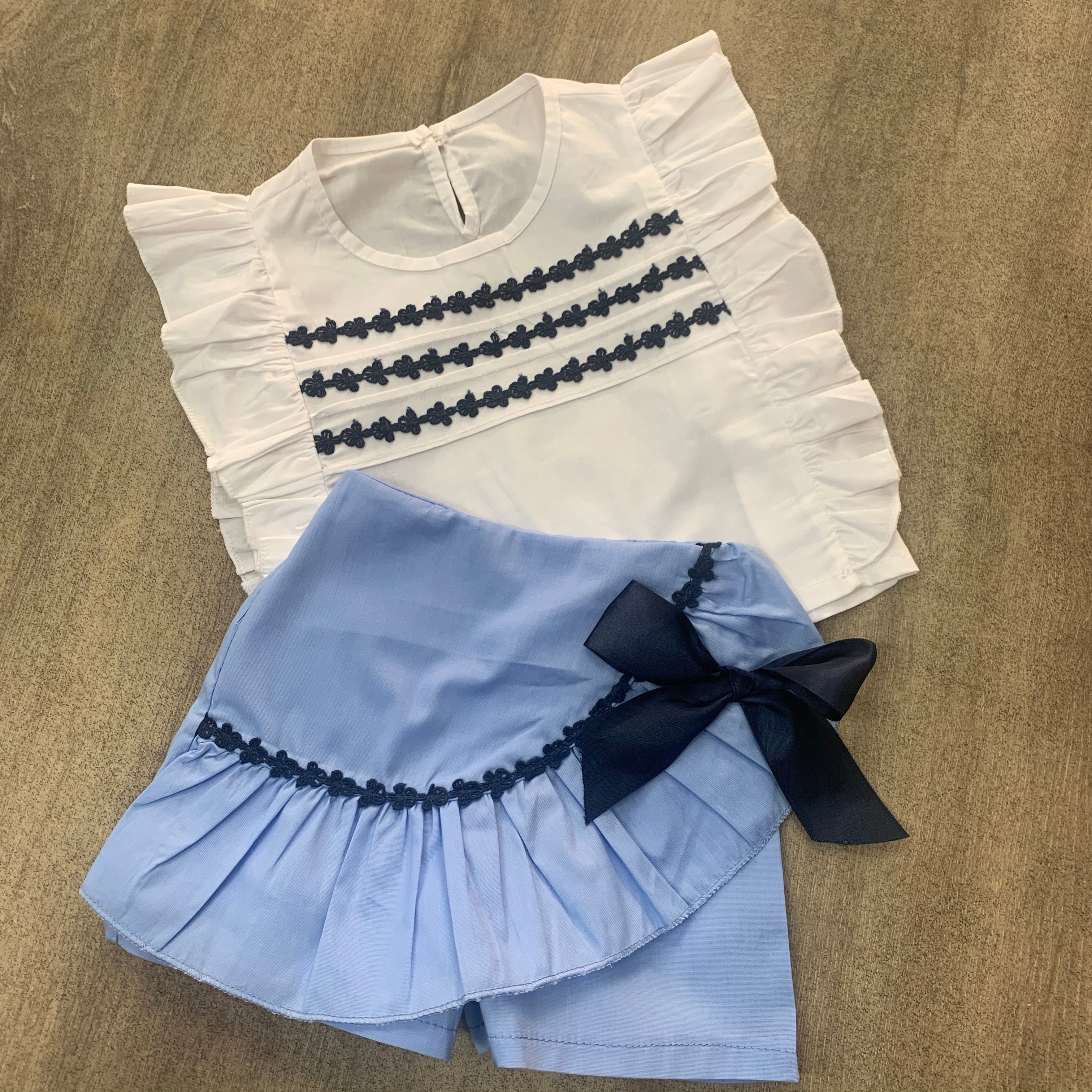 Cornflower Blue Pleated Skort Set