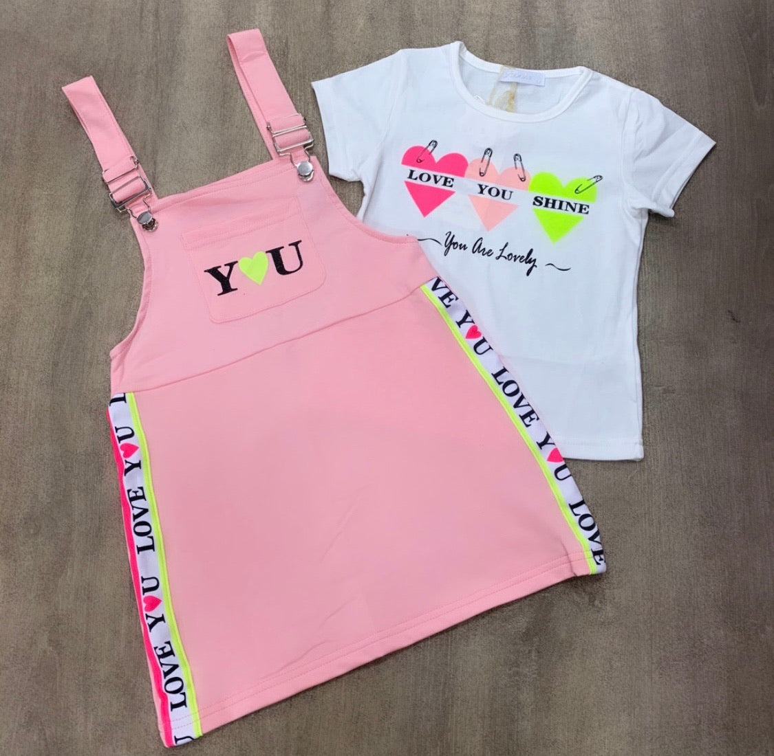 LOVE dungaree dress and T-Shirt Set Pink