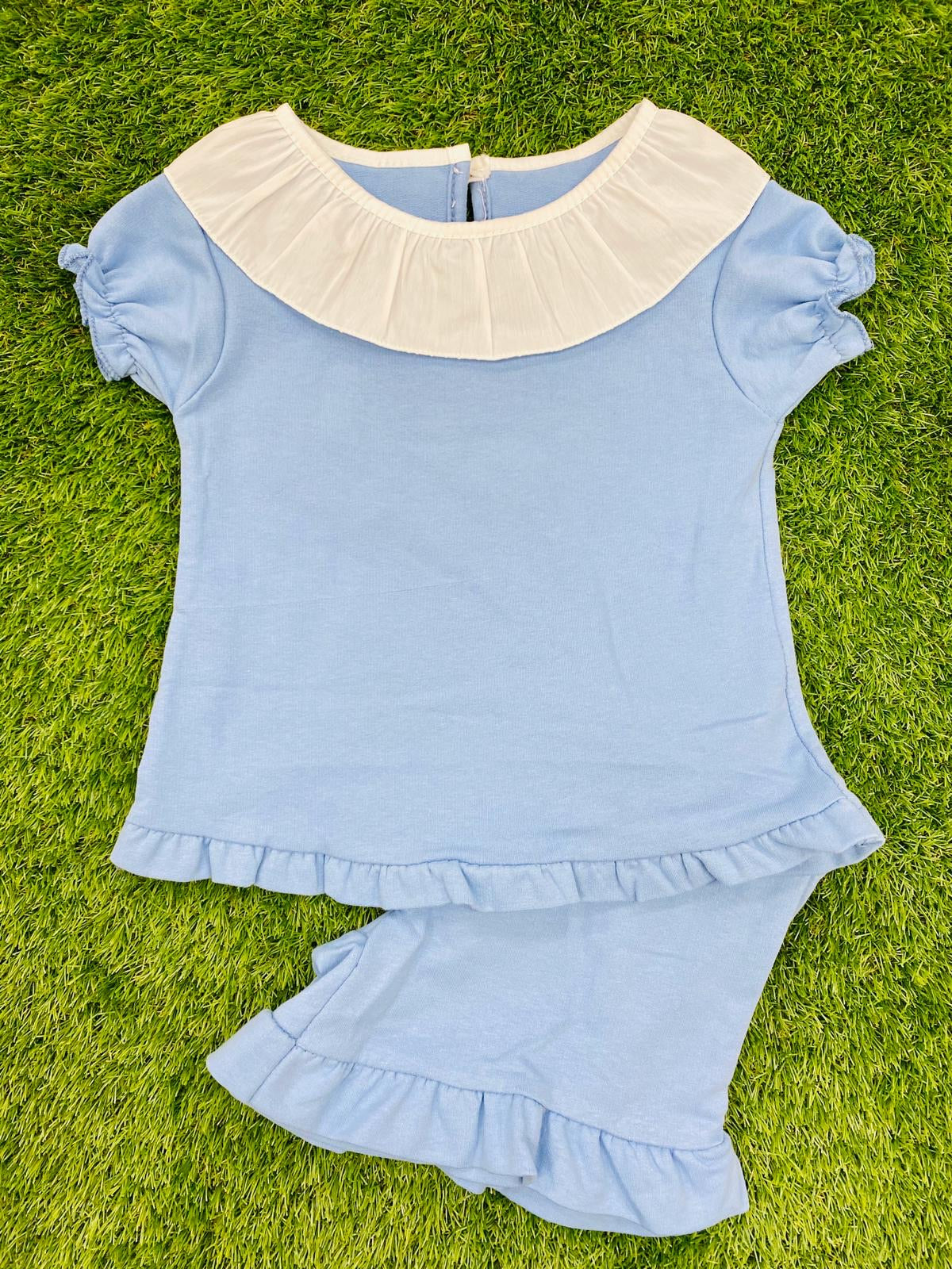 Sky Blue Ruffle Collar Jersey Short Set