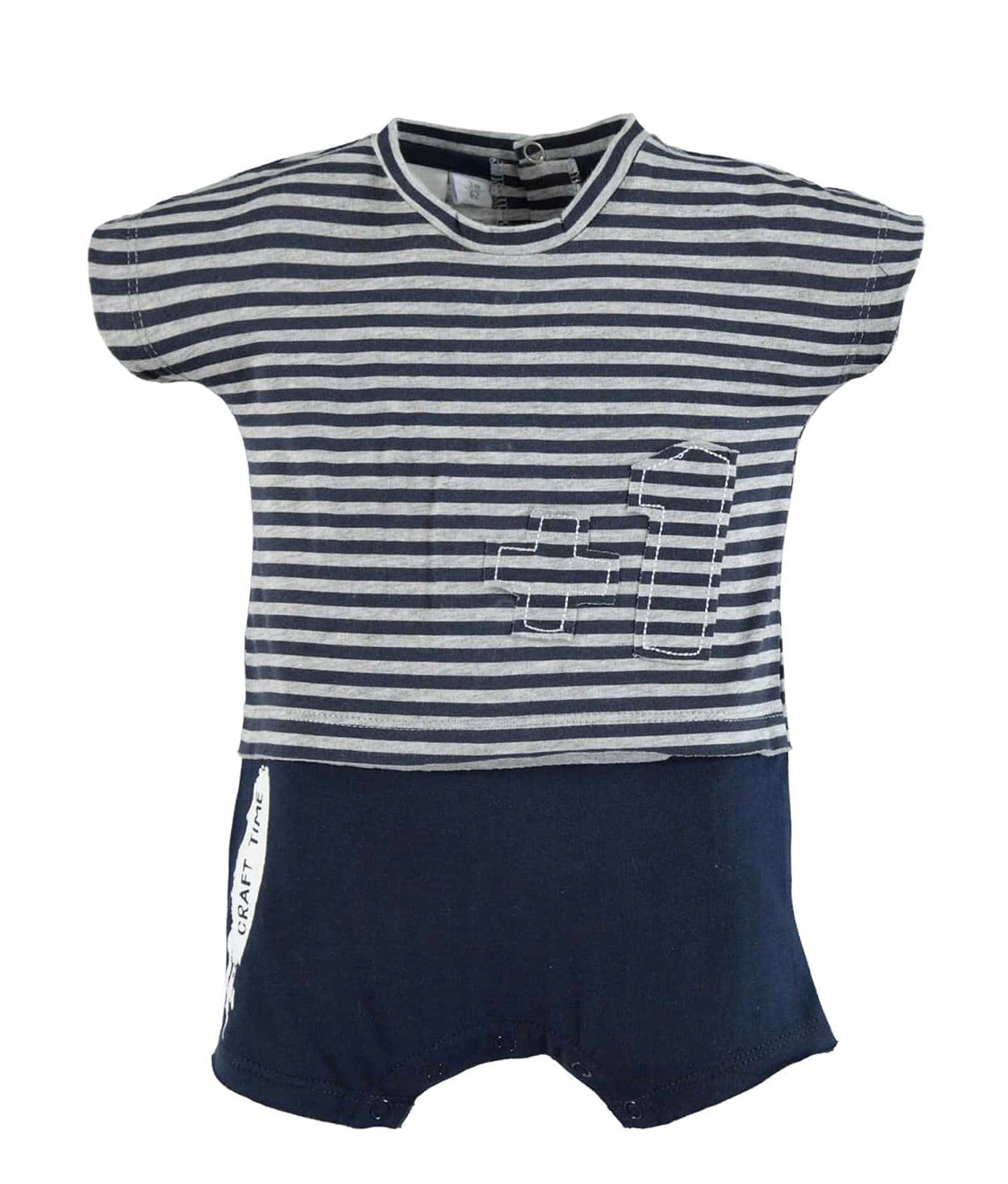 Cotton Striped Blue Grey Romper
