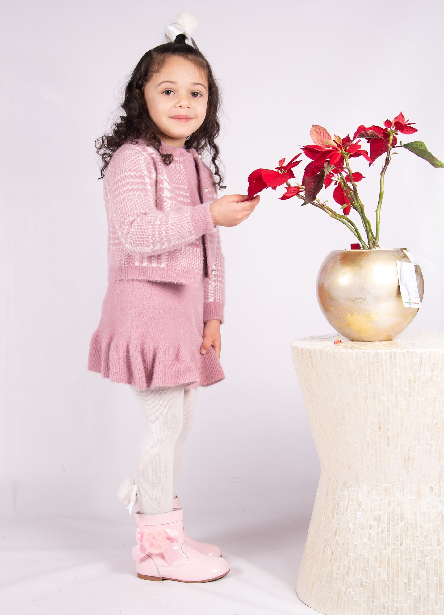 Beau Kid Elouise Knitted Dress & Cardigan Set Pink