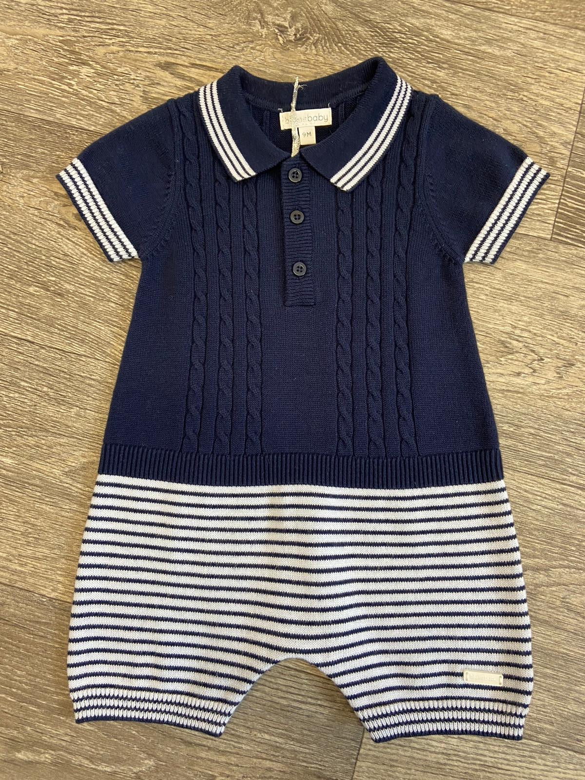 Blues Baby Knitted Navy Romper