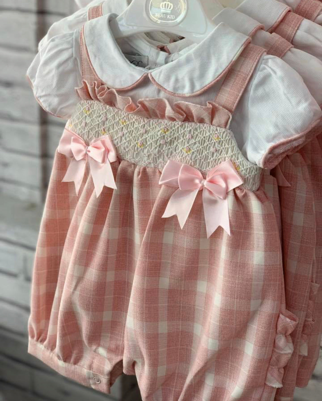 Beau Kid Pink Smocked Bow Set