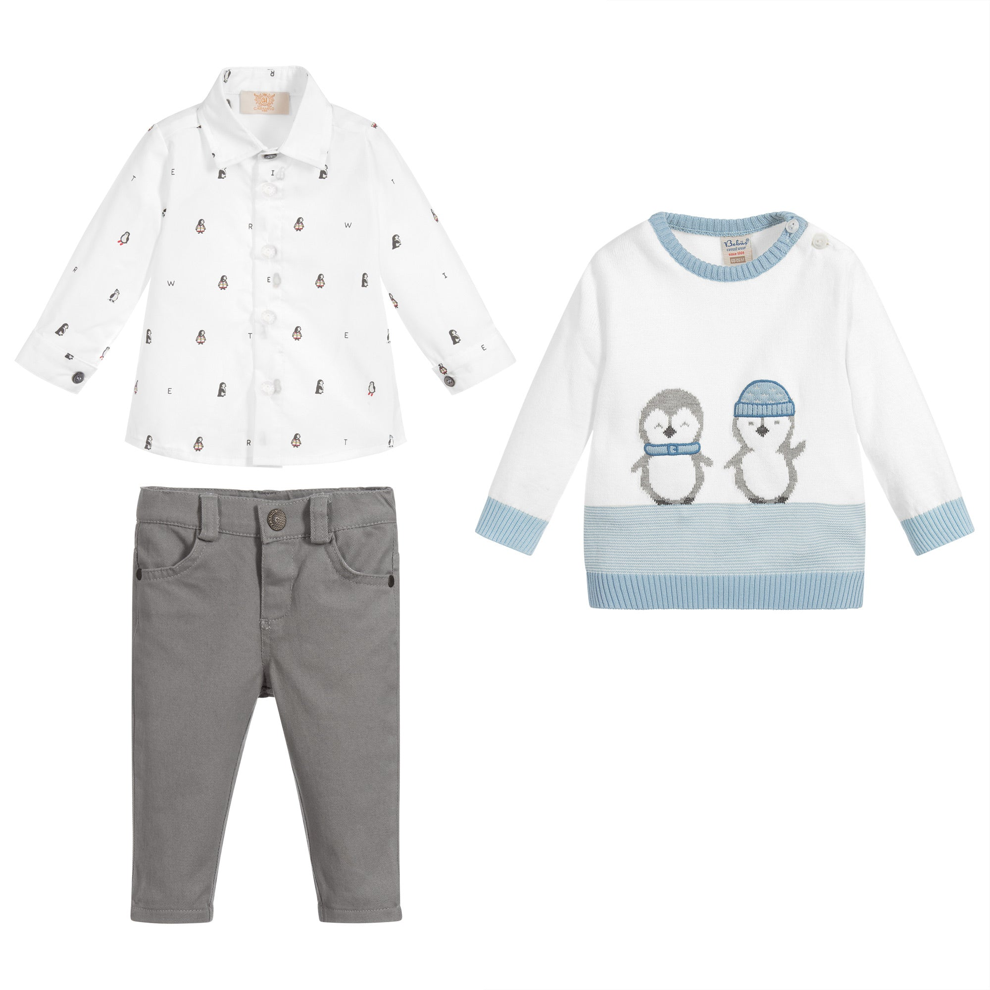 Caramelo Kids Grey Penguin Set