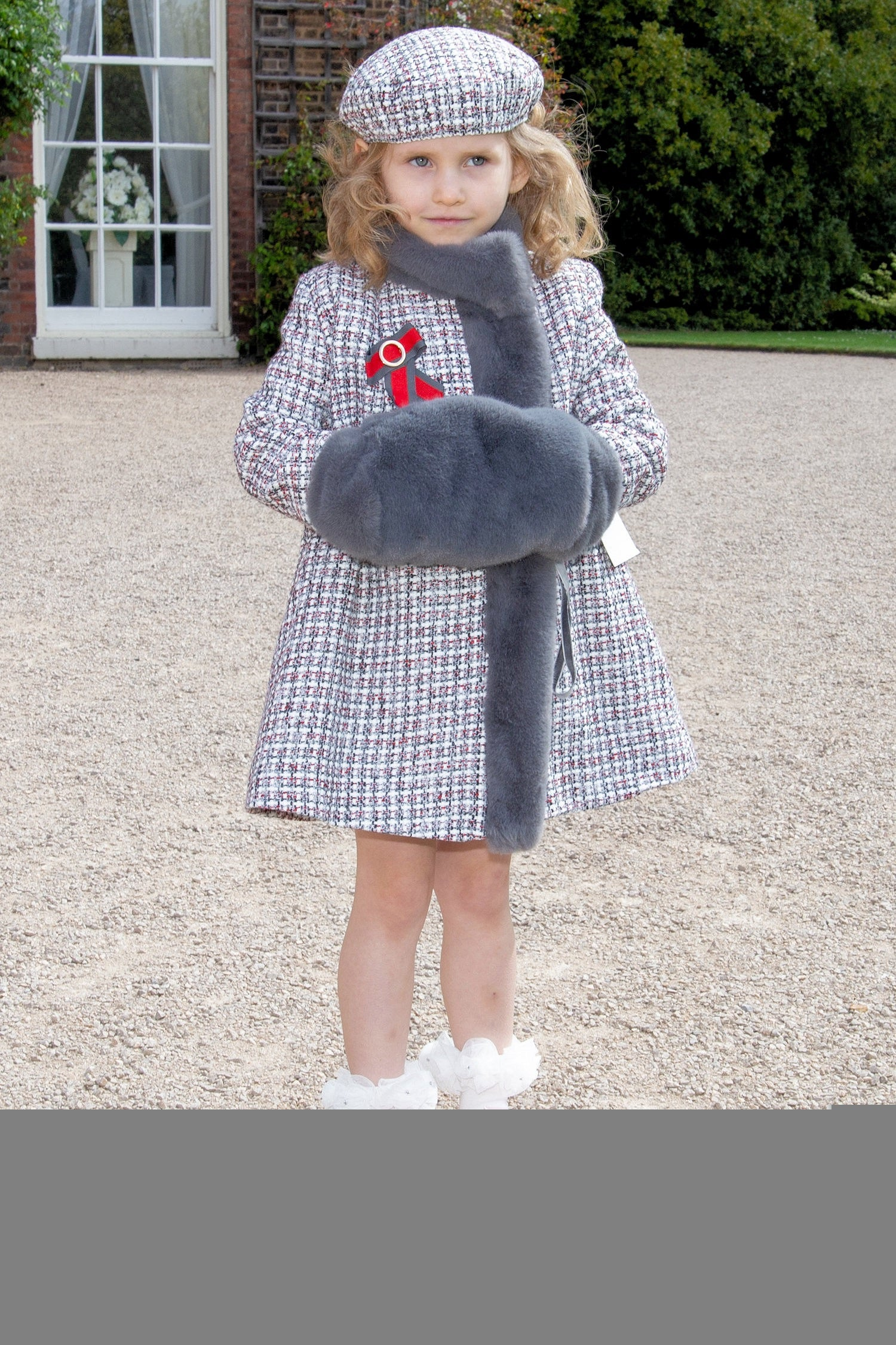 Beau Kid Tweed Coat with Muff & Hat