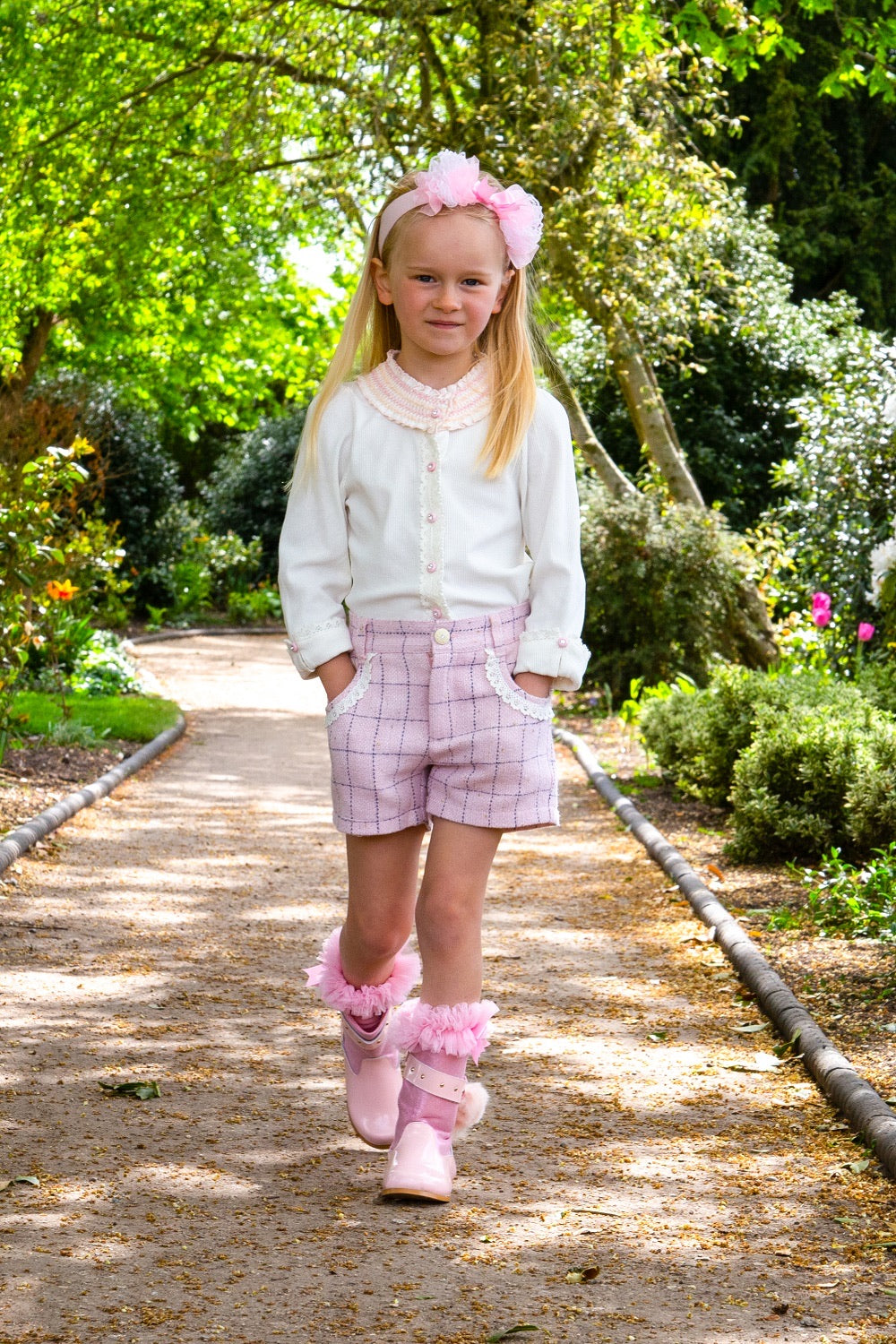 Beau Kid Pink Tweed Short Set