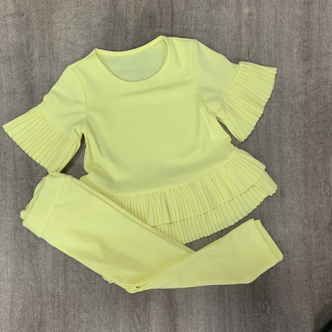Lemon Ruffle Pleated Lounge Set
