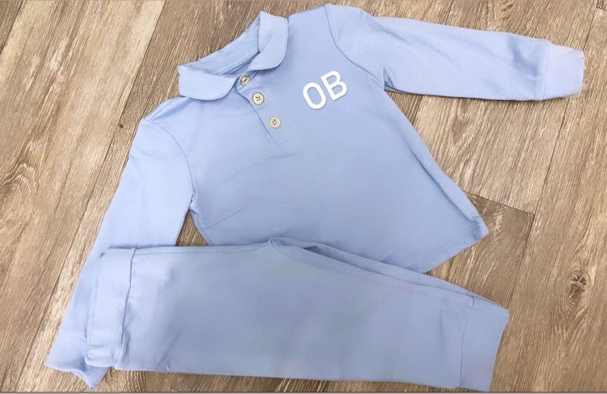 Boys Sky Blue Polo Set - Personalisation Available