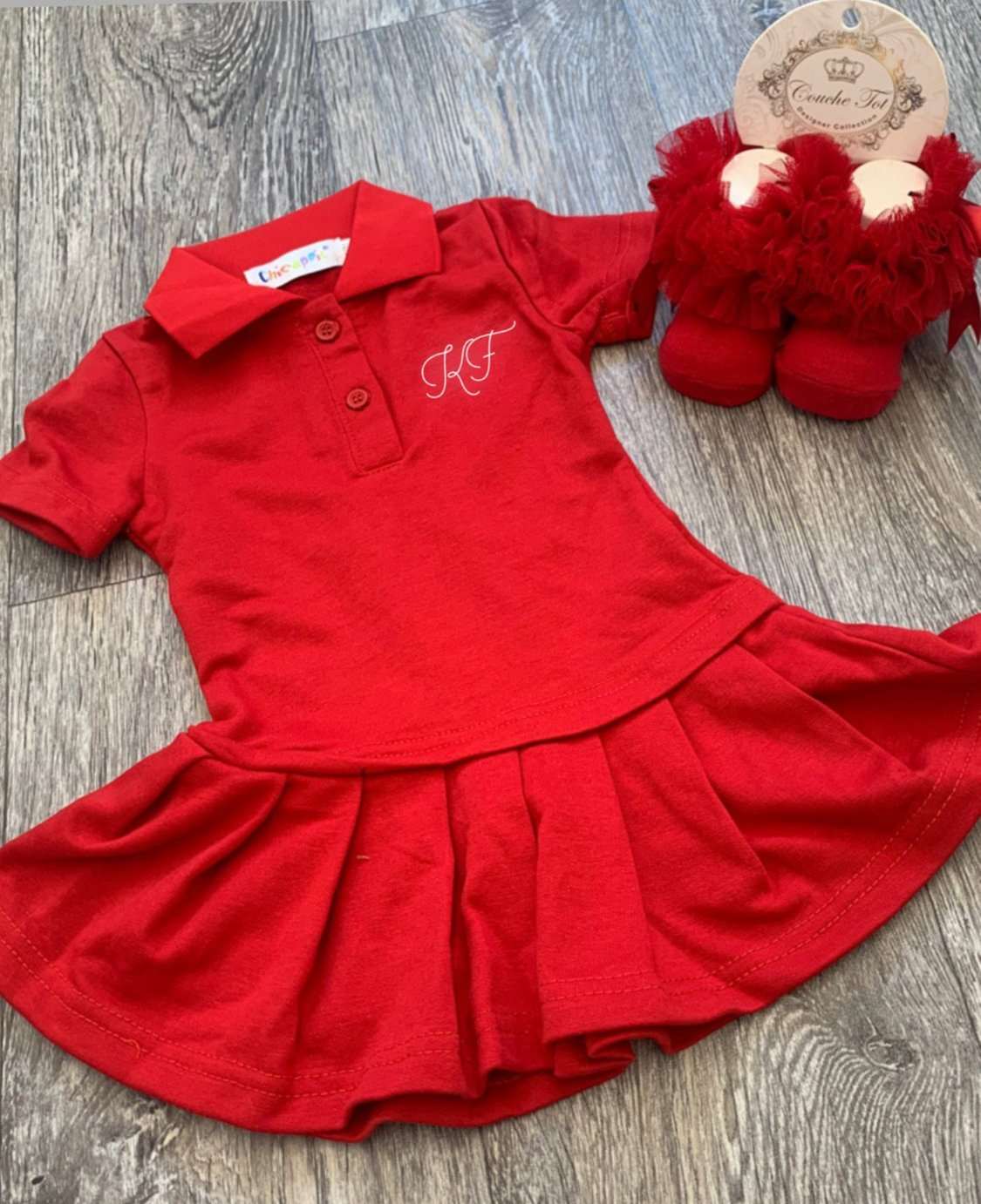 Personalised Red Pleated Polo Dress
