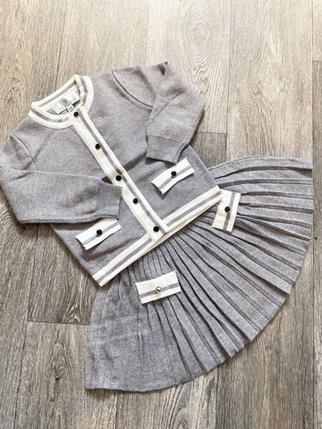 Beau Kid Knitted Skirt Set Grey