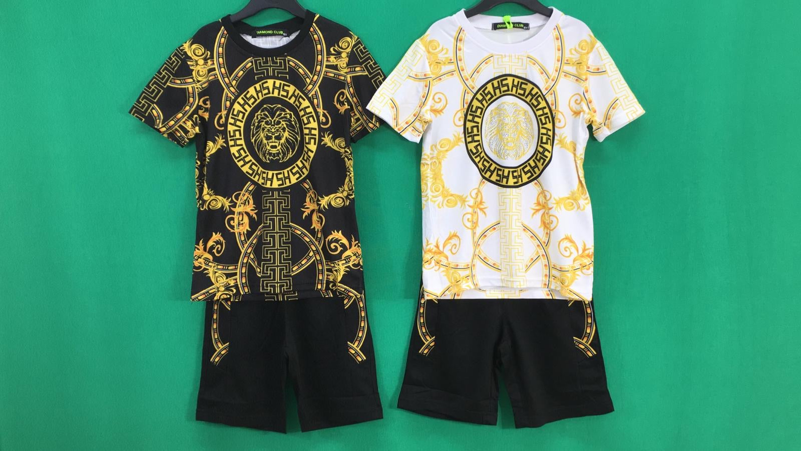 Boys Gold Print Short Set