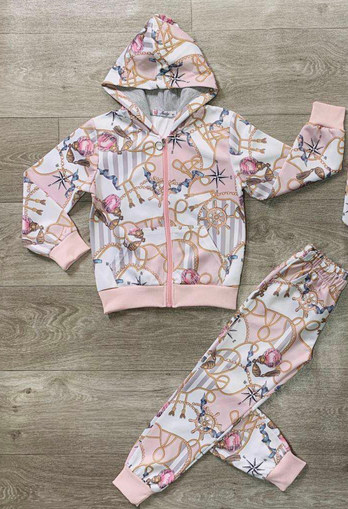 Nautical Pink Trim Tracksuit
