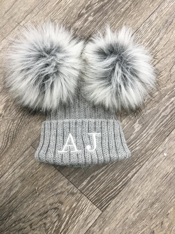 Deluxe Double Pom Pom Hat Grey