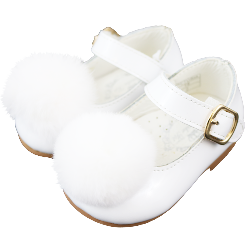 Couche Tot Victoria Pom Pom Shoes White