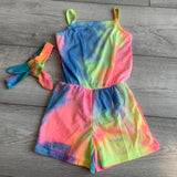 Tie Dye Candy Playsuit with Headwrap
