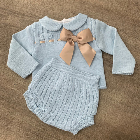 Amelia 2 Piece Knitted Bow Set - Sky