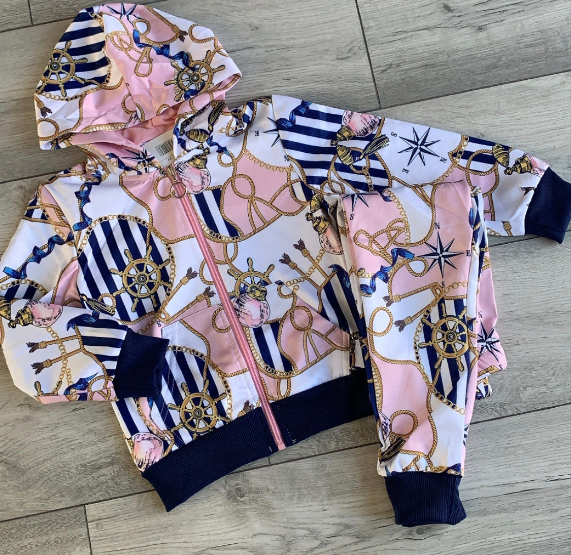Nautical Pink Tracksuit with black trim