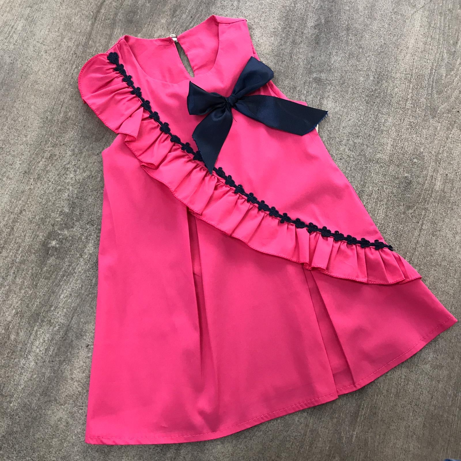 Pleated Cotton Coral Bow Dress