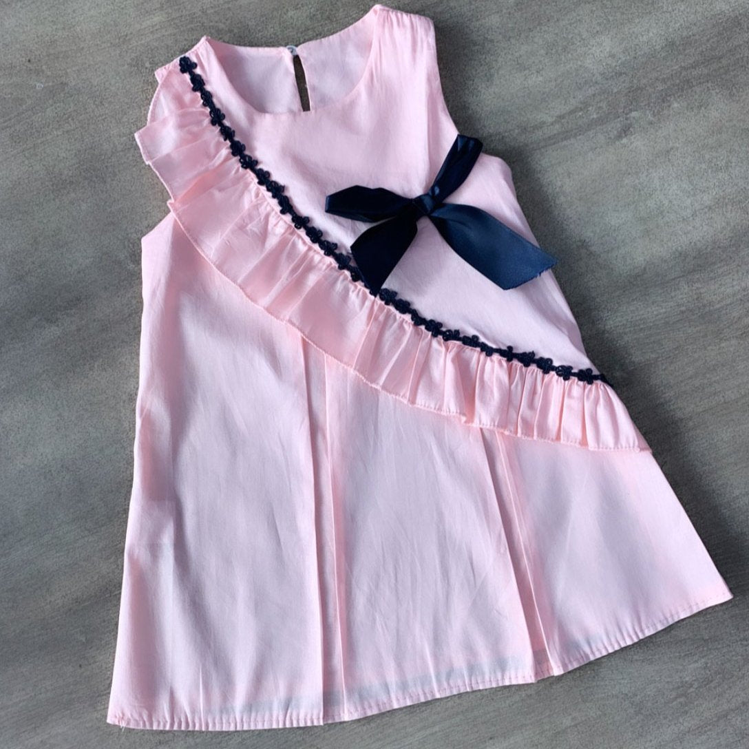 Pleated Cotton Pink Bow Dress