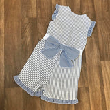 Pinstripe Bow Playsuit Blue