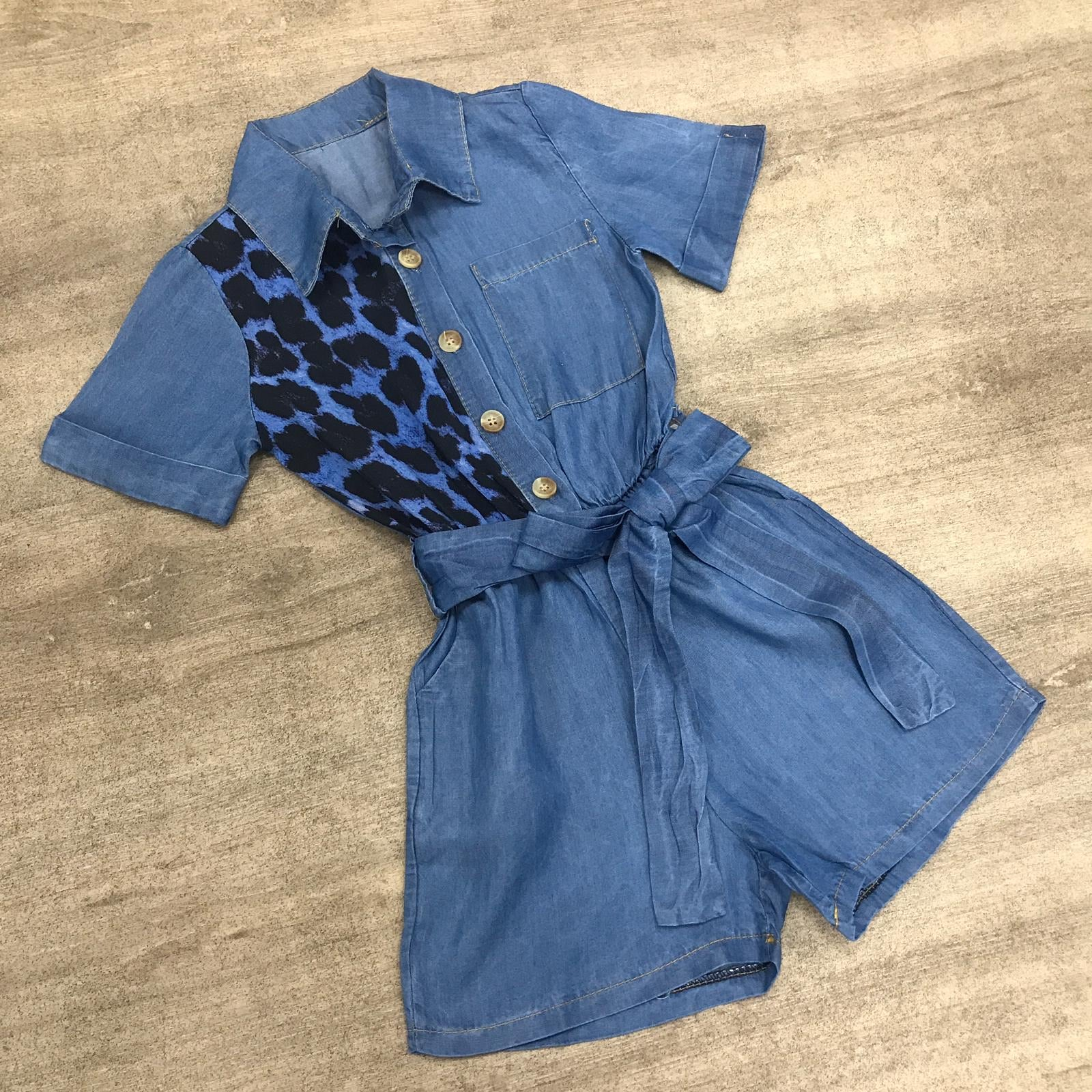 Leopard Print Denim Playsuit