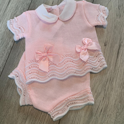 Spanish Bow Knitted Jam Pant Set