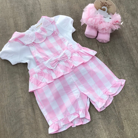 Mintini Pink Gingham Romper