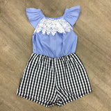Sky Blue and Navy Gingham Lace Playsuit