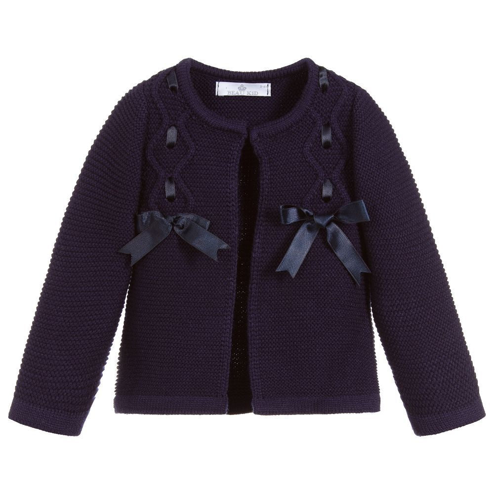 Beau Kid Bow Cardigan Navy