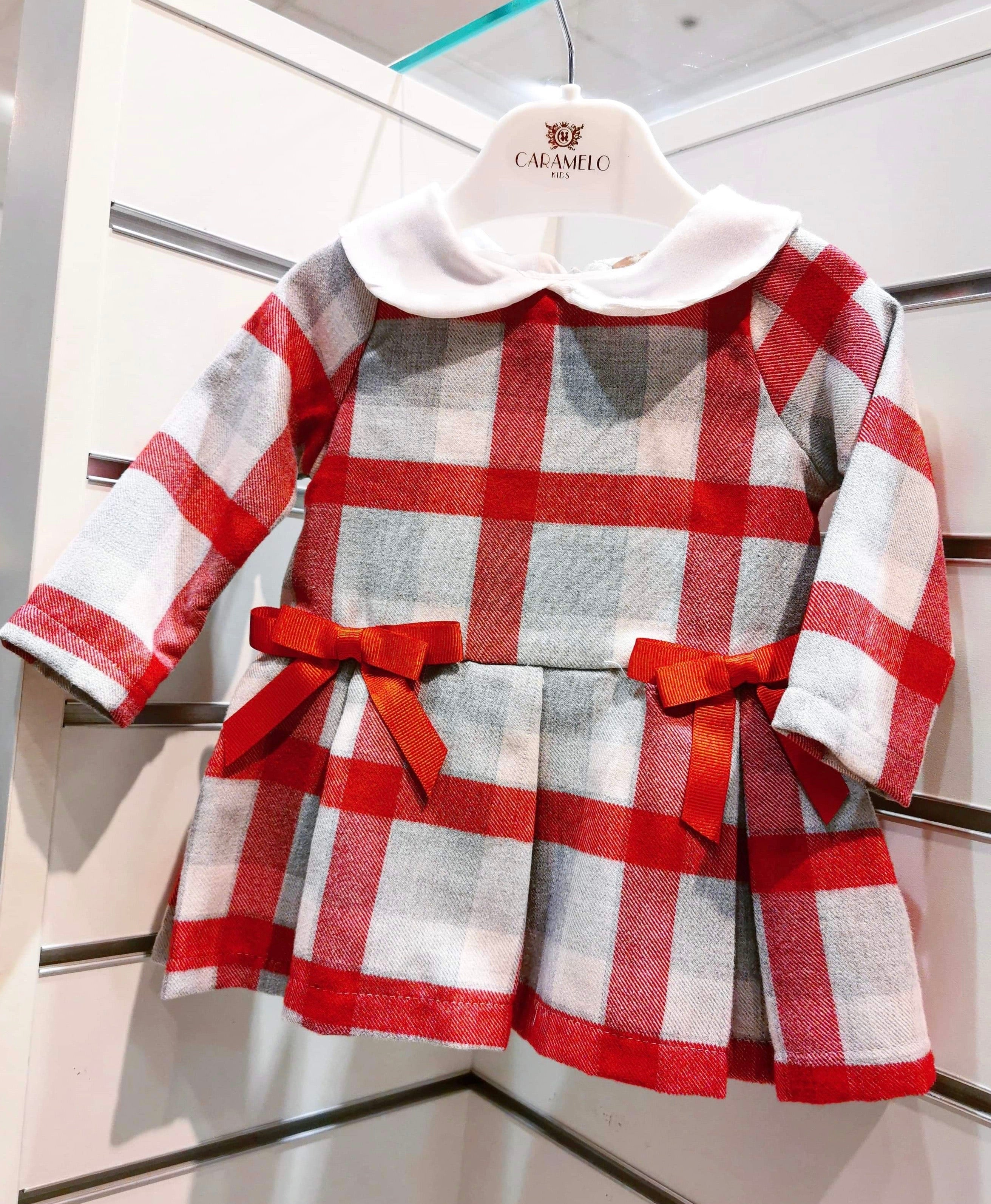 Caramelo Kids Check Collar Dress Red