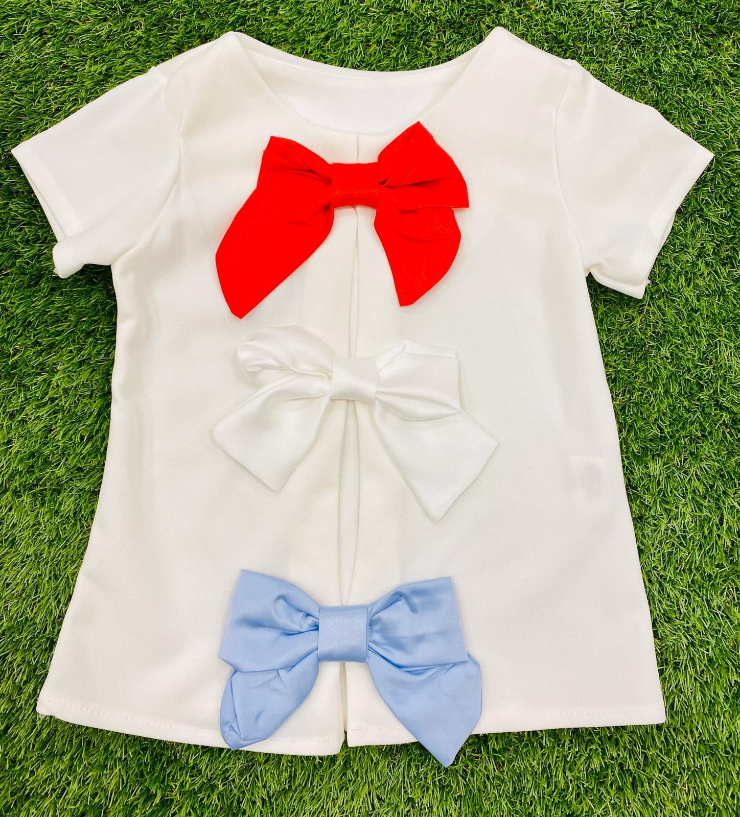 Triple Bow Tee White