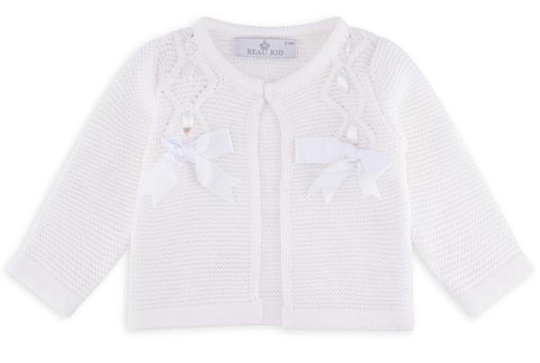 Beau Kid Bow Cardigan White