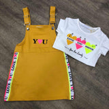 LOVE dungaree dress and T-Shirt Set Mustard
