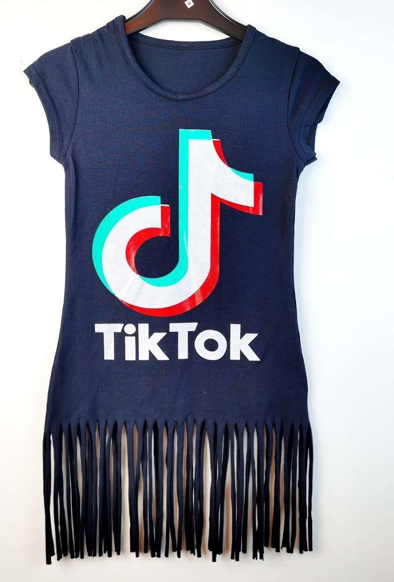 Tik Tok Fringed Dress Navy