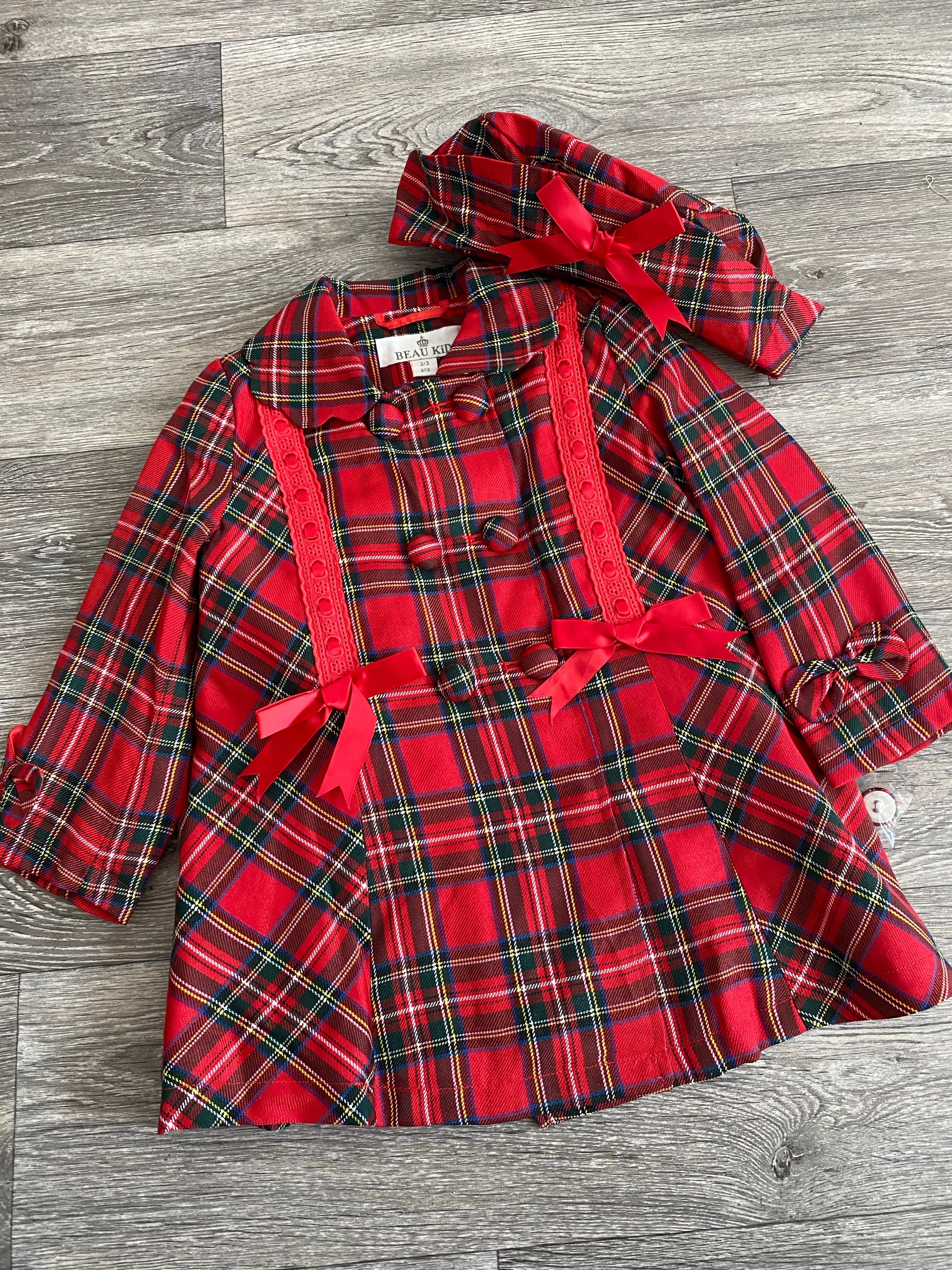 Beau Kid Red Tartan Bow Coat