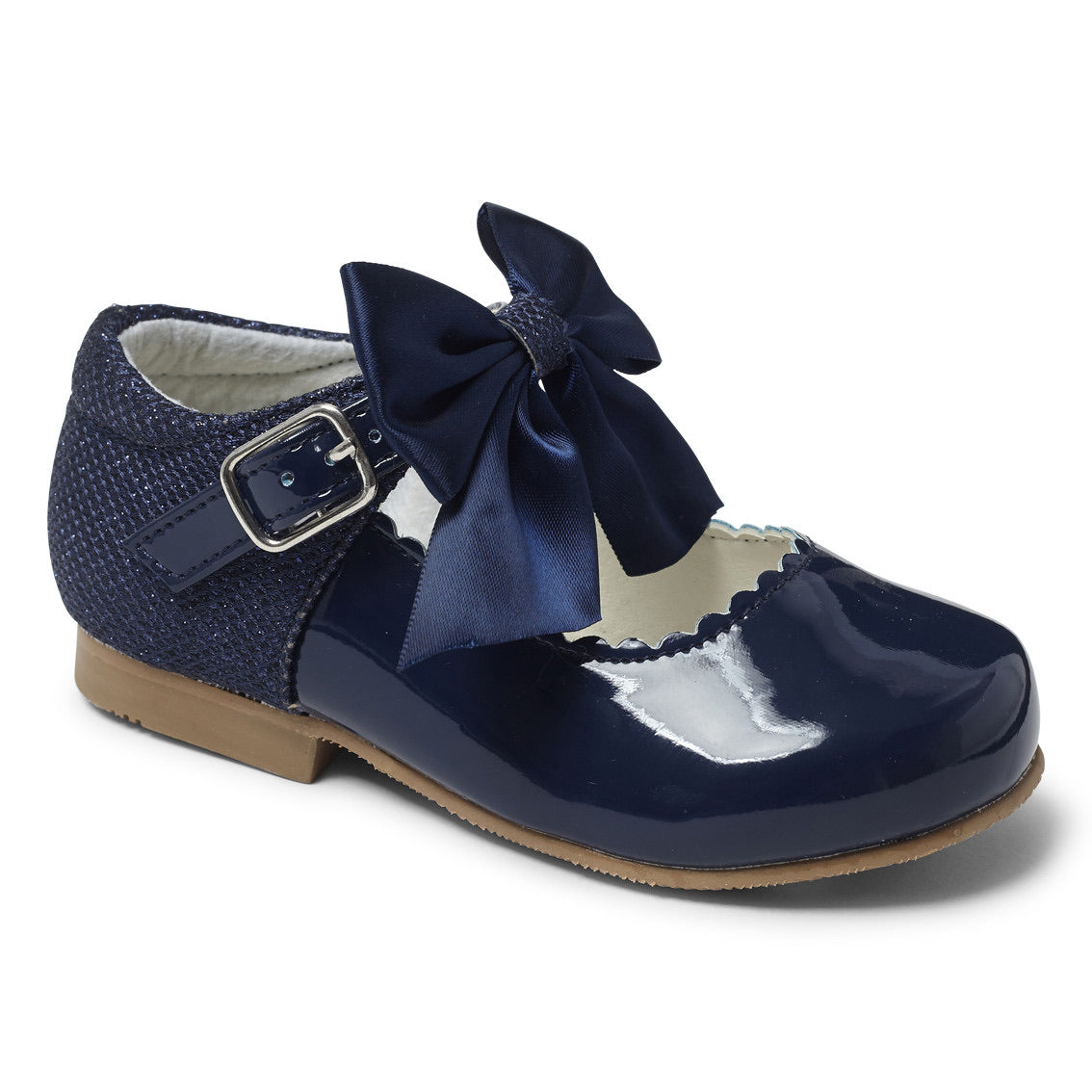 Kristy Navy Bow Hard Sole Shoes