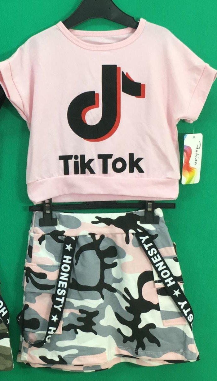 Tik Tok Military Skirt Set Pink