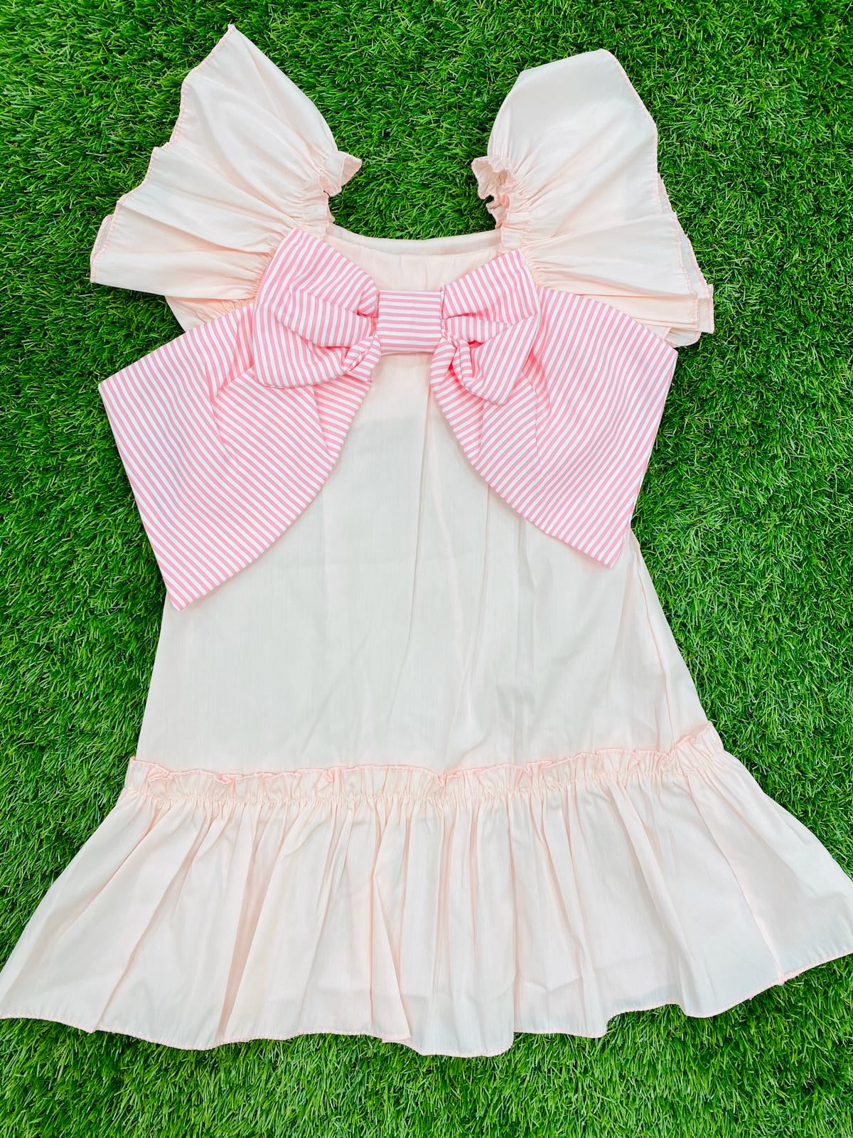 Ruffle Bow Dress Pink