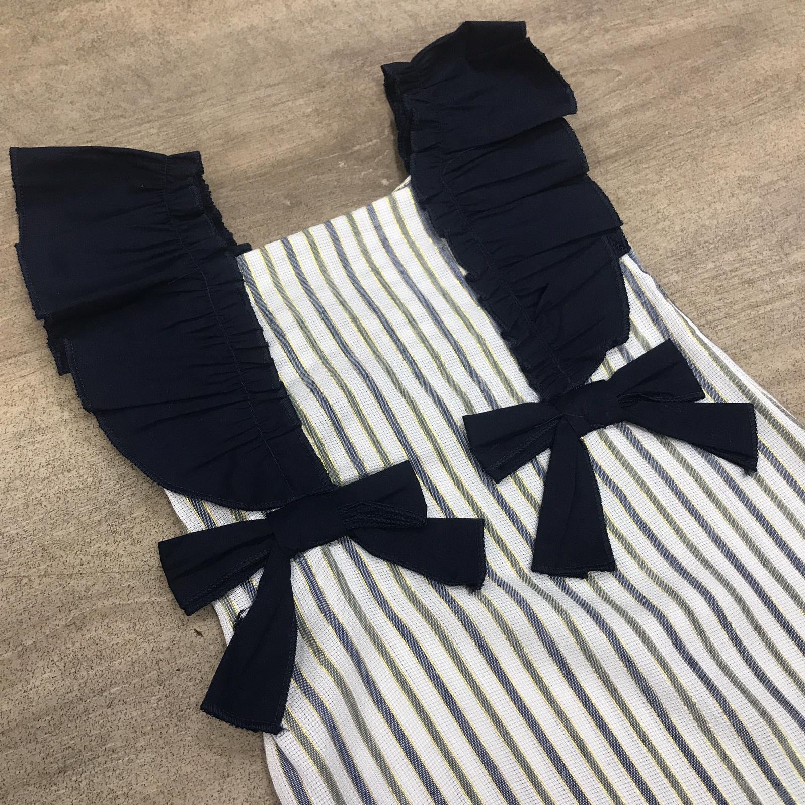 Ruffle Pinstripe Dress Navy