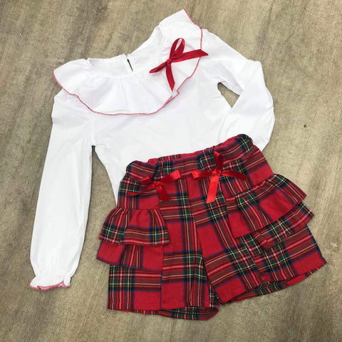 Tartan Ruffle Collar Short Set