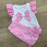 Pink Gingham Ruffle Bow Short Set