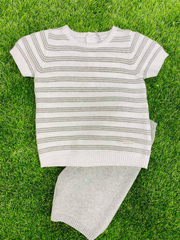 Blues Baby Striped Knitted Short Set Grey