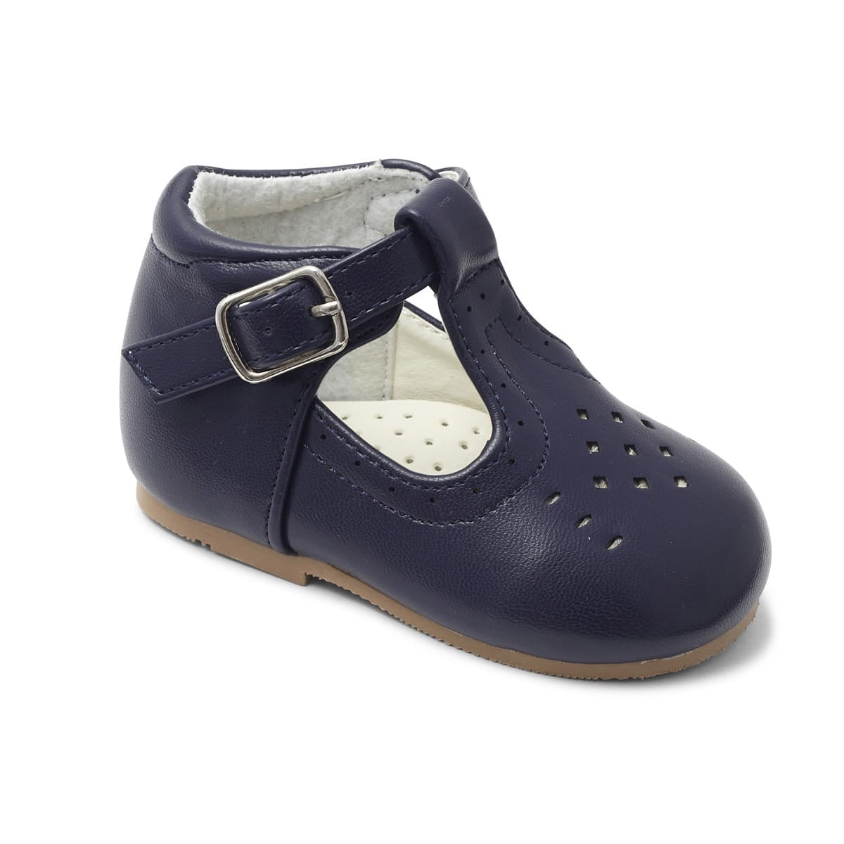 Boys Navy Matte T Bar Aaron Shoe