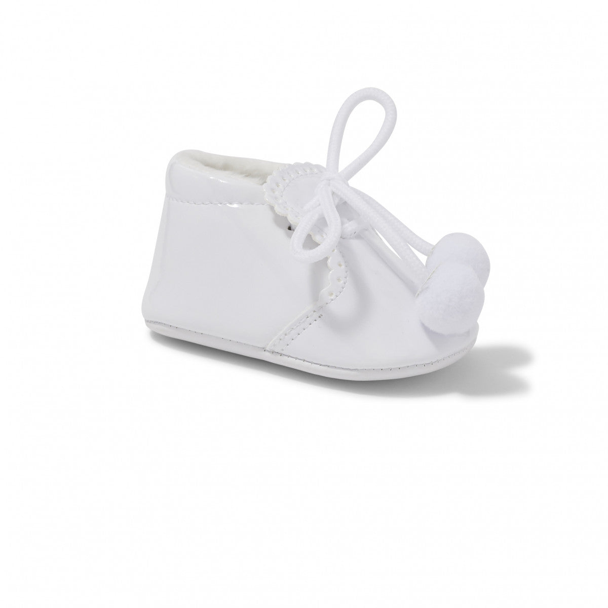 Joe White Pom Pom Pram Shoe
