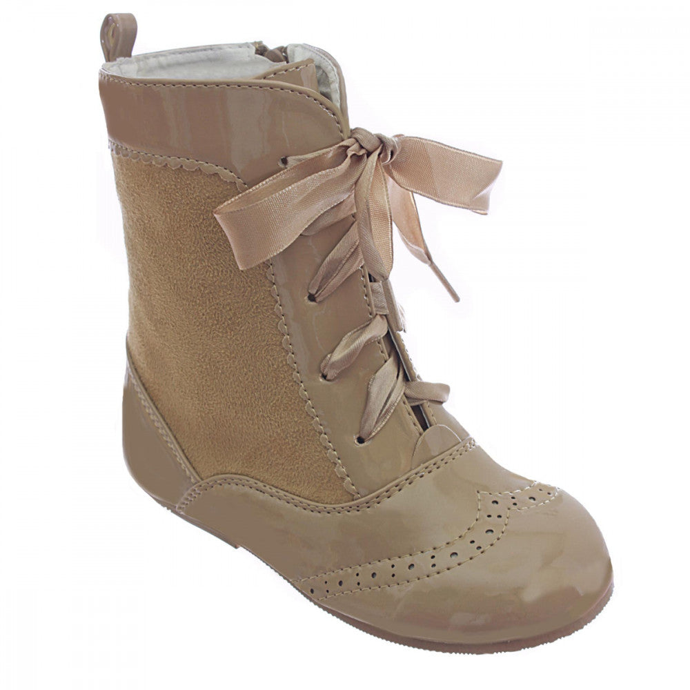 Nina Spanish Suede Lace Up Boots Camel
