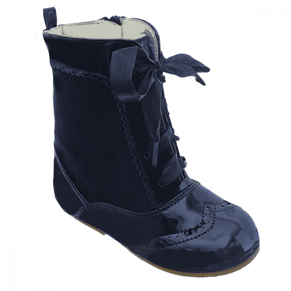 Nina Spanish Suede Lace Up Boots Navy