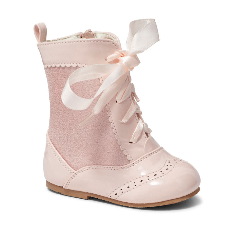 Spanish Suede Lace Up Boots Pink